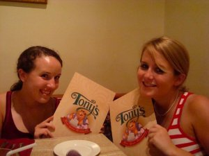 My friend, Allison, and I loved the menus featuring Tony himself.