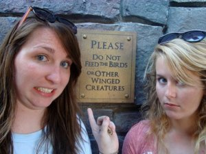 My friend Morgan and I explored the back patio of The Three Broomsticks.