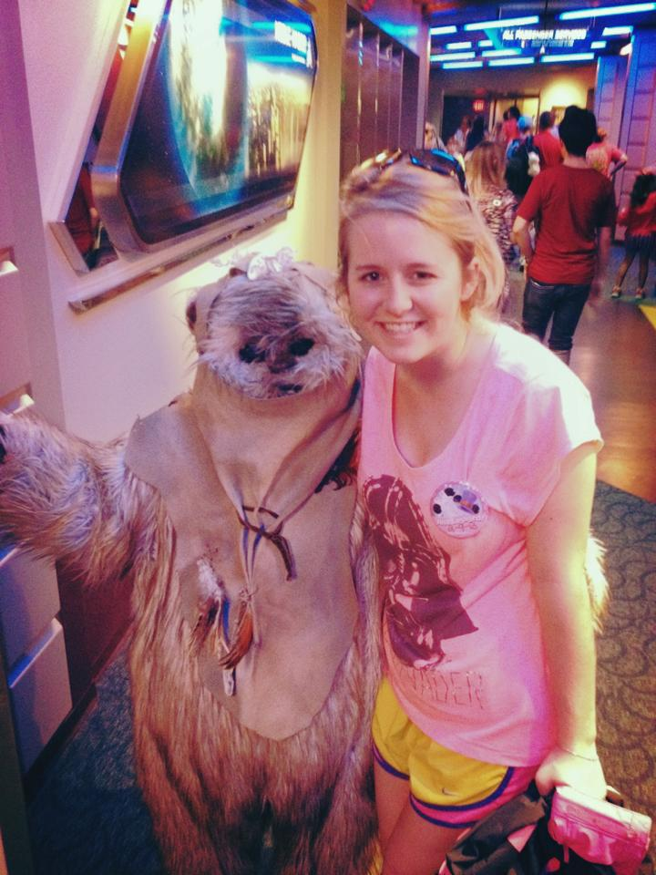 Catching an Ewok while exiting Star Tours in 2013